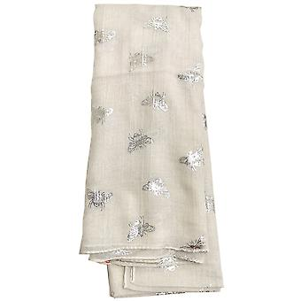 White Metallic Bees Scarf by Butterfly Fashion London