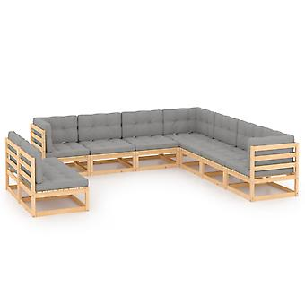 vidaXL 9 pcs. Garden Lounge Set with Cushion Pine Solid Wood