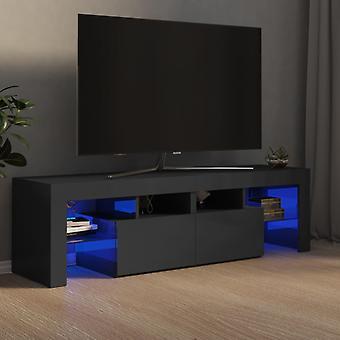 """vidaXL ארון טלוויזיה עם נורות LED גבוה מבריק אפור 140x35x40 ס""""מ"""
