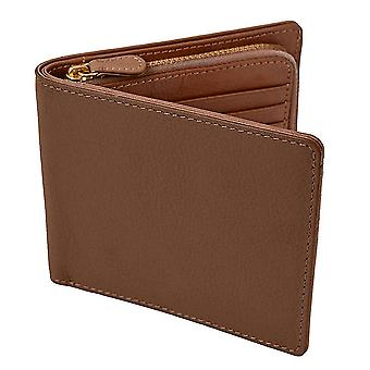 Wax cowhide coin purse short 2 fold wallet imitation corridor leather RFID leather