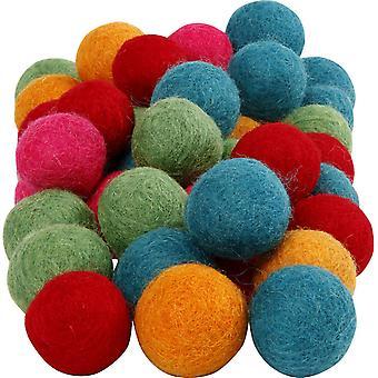 20mm 100% Wolle 64 Pack Helle Farbtöne gefilzte Pom Pom Kugeln für Handwerk