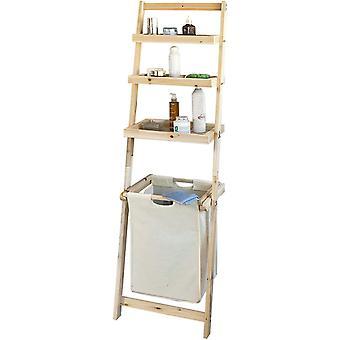 SoBuy Wall Storage Drabina Półka z wyjmowanym koszem na pranie, FRG160-N