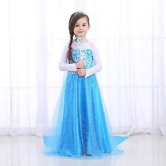 Princezná šaty Sneh kráľovná Dievčatá Fancy Anna Elsa kostým Narodeninová párty Cosplay oblečenie s dlhým plášťom Parochňa