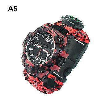 7 En 1 outdoor survival watch tactique paracord bracelet montre avec compass scraper thermomètre paracord sifflet outils de camping