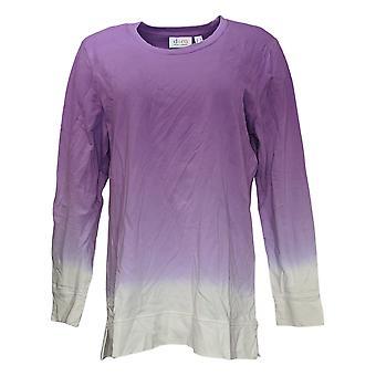 Denim & Co. Women's Top French Terry Dip Dye Long-Sleeve Tunic Purple A346977