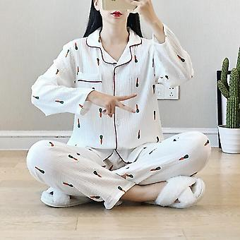 Spring And Autumn New Pajamas Two Piece 100% Cotton Crepe Ladies With