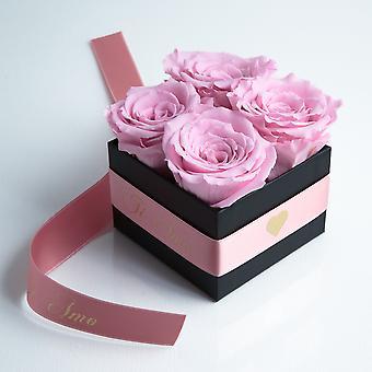-Rosa och sidenband bevarade TI AMO box med 4 hållbarhet 3 år