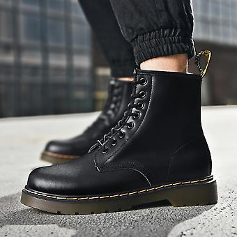 Women's Fashion Motorcycle Boots Business Casual Chukka Boot Waterproof Leather Work Boots Lace Up Combat Sneaker Boot