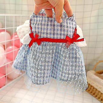 Dog apparel summer luxury blue plaid pet dog dresses puppy clothes cat skirt girl dog clothes vestidos para