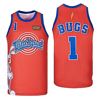 Hommes Basket Jersey Tune Squad Bugs #1 Space Movie Jersey 90s Hip Hop Vêtements pour fête cousu T-shirt sport Taille S-xxl