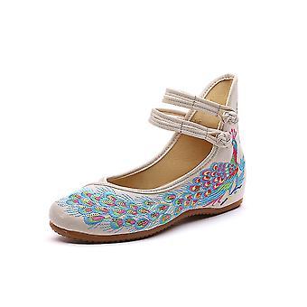 Women's Chinese Retro Ethnic Embroidery Low Heel Flat Sling Cheongsam Dress Shoes Asakusa Flower