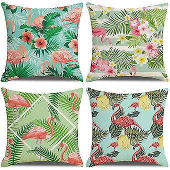Pack de 4 housses de coussin 18x18, couvertures en coton à motif de feuilles de flamants tropicaux