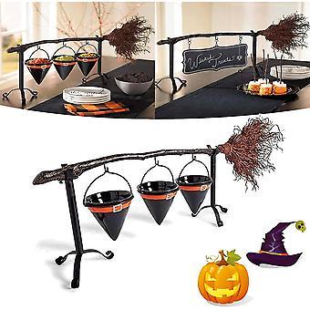 Gemdeck Broomstick Snack Bowl Stand met verwijderbare mand organisator, Halloween Decor