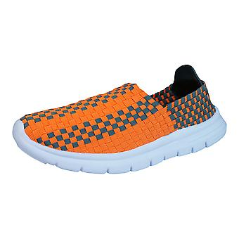 Air Tech Pessoa Womens Slip On Woven Trainers / Shoes - Orange