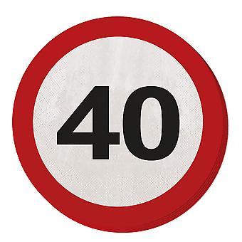 Serviette Verkehrsschild Zahl 40 Geburtstag 20 St. Schild Party