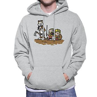 Calvin And Hobbes Vikings Ragnar Lothbrok Men's Hooded Sweatshirt