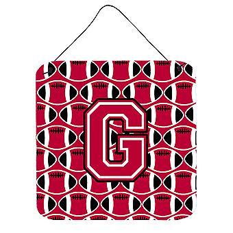 Buchstabe G Fußball Crimson und weiße Wand oder Tür hängen Drucke