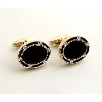 Gold Diamond cufflinks with onyx