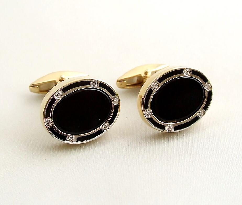 Gold Diamond cufflinks with onyx
