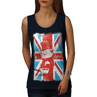 Great Britain Cat Women NavyTank Top | Wellcoda