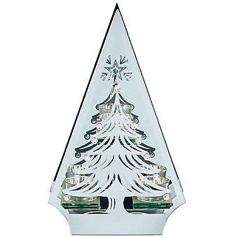 Christmas Shop Silver Tree Shape Triple Tea Light Holder
