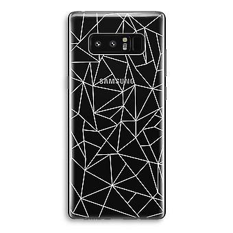 Samsung Galaxy Note 8 gjennomsiktig Case (myk) - geometriske linjer hvit