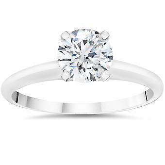 1/2ct Lab skabt diamant Solitaire engagement ring 14k hvid guld