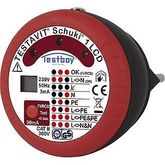 Testboy Testavit Schuki 1 LCD Mains outlet tester CAT II 300 V LCD, LED