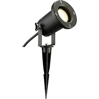 SLV 227410 Nautilus Spike Garden spotlight LED (monochrome), Energy-saving bulb, HV halogen GU10 11 W Black