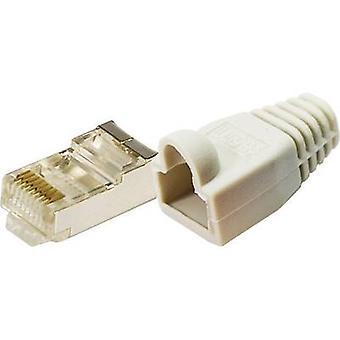 LogiLink MP0011 Plug CAT 5E beschermen gele 8P8C RJ45 stekker, rechte grijs