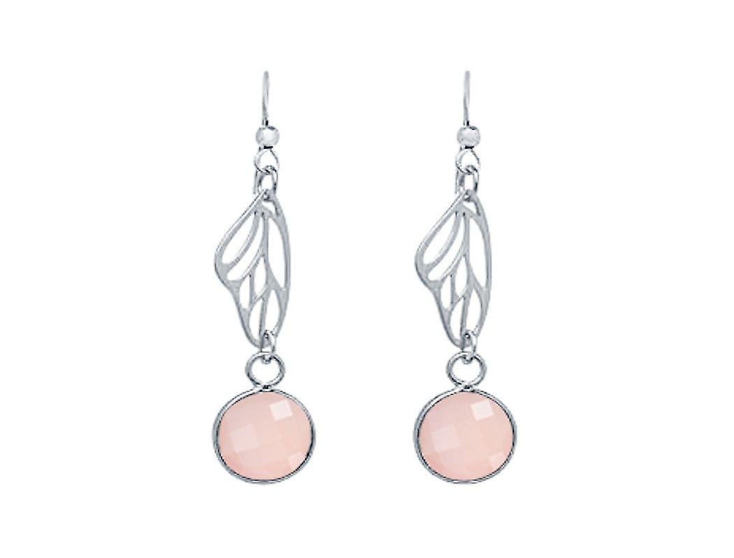 Gemshine Damen Ohrringe 925 Silber Schmetterling Flügel Rosenquarz Rosa