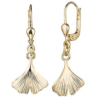 golden earrings sheet boutons Ginkgo 375 gold yellow gold earrings