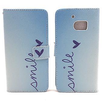 Mobiltelefon case fodral för mobil HTC 10 bokstäver leende Blau