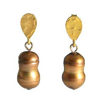 GEMSHINE örhängen barock odlade pärlor 925 silver eller förgyllda Tahiti champagne