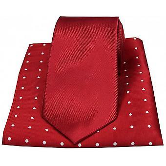 David Van Hagen ribbet slips og Polka Dot lommetørkle sett - rød