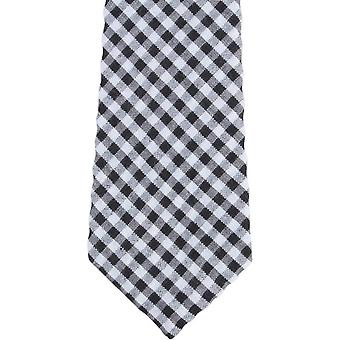 Knightsbridge Neckwear Gingham Checked Cotton Skinny Tie - Black/White