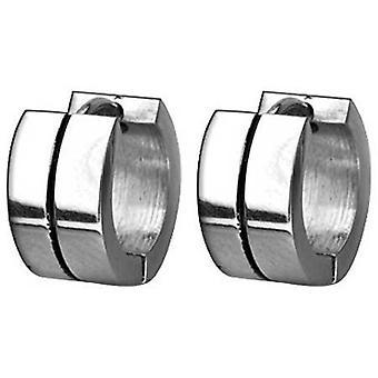 Hoop Huggie Earrings, Stainless Steel, Black Stripes