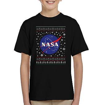 The NASA Classic Insignia Christmas Knit Pattern Kid's T-Shirt