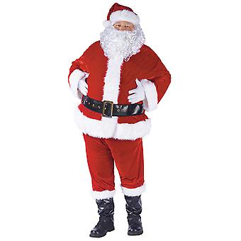 Velour Santa Claus Suit Deluxe Christmas Mens Costume Beard Complete Set STD