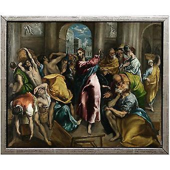 Z ramą Oczyszczanie świątyni,El Greco,61x51cm