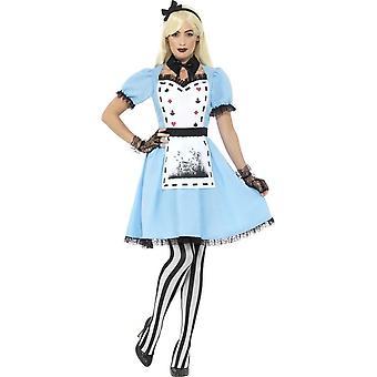 Делюкс темный чаепития костюм, синий, с платье, придает фартук, воротник, Колготки & оголовье
