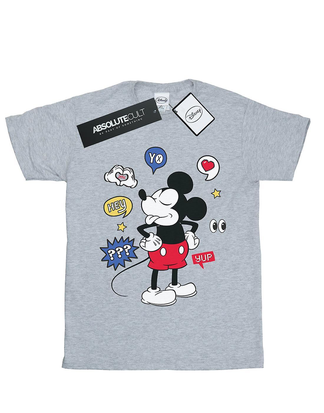 Disney Women's Mickey Mouse Tongue Out Boyfriend Fit T-Shirt