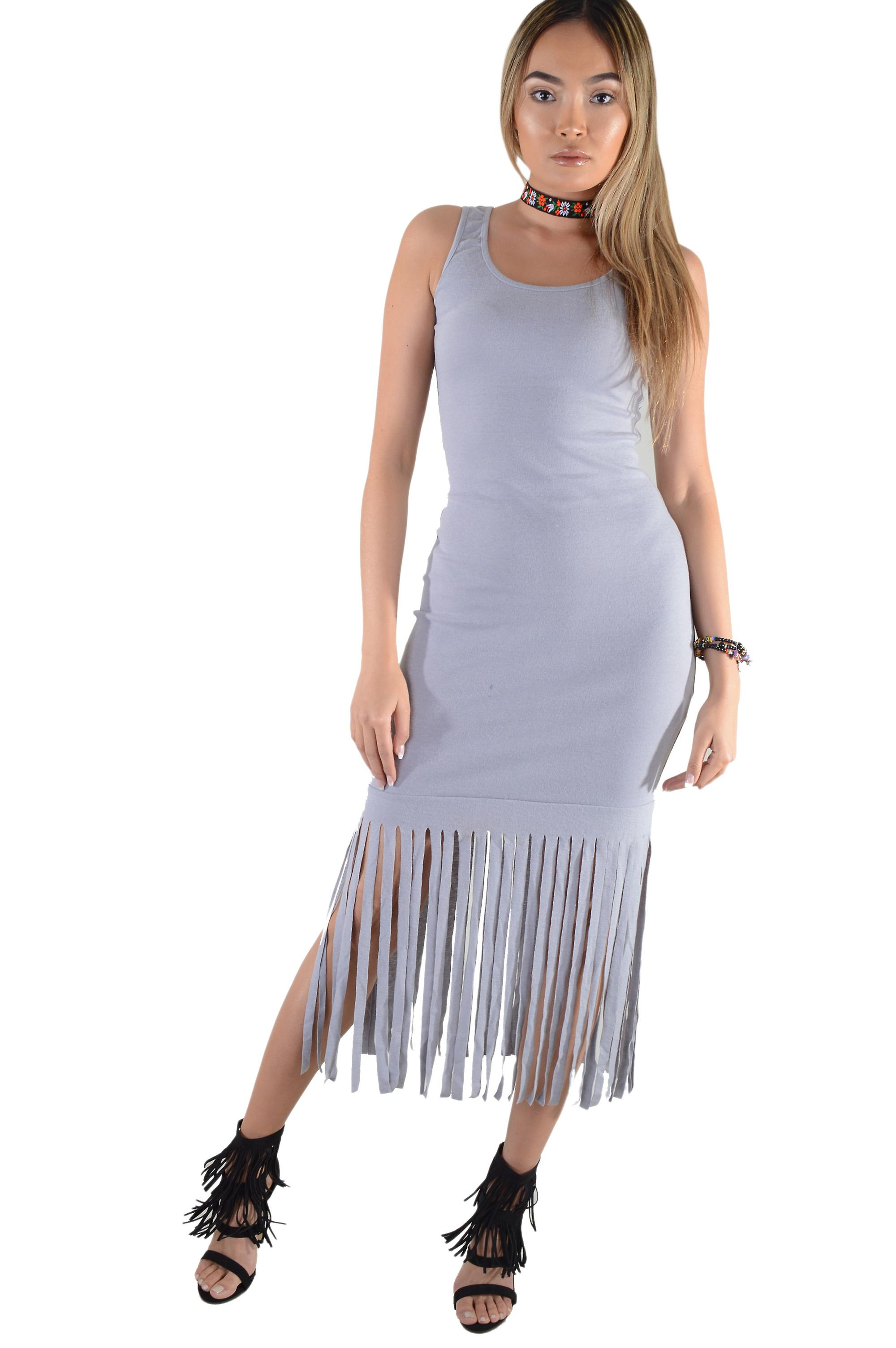 Lovemystyle Grey Maxi Vest Dress With Tassels