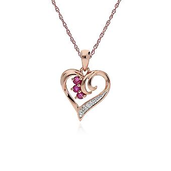 Classic Round Ruby & Diamond Swirled Love Heart Pendant Necklace in 9ct Rose Gold 135P1842019