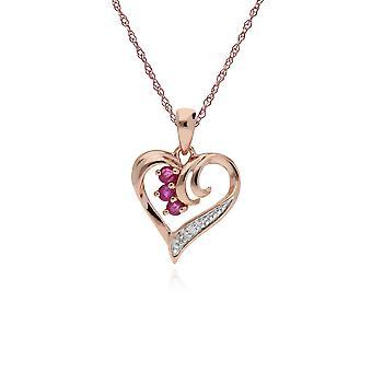 الكلاسيكية جولة روبي والماس دوامة حب قلادة قلادة القلب في 9ct روز الذهب 135P1842019