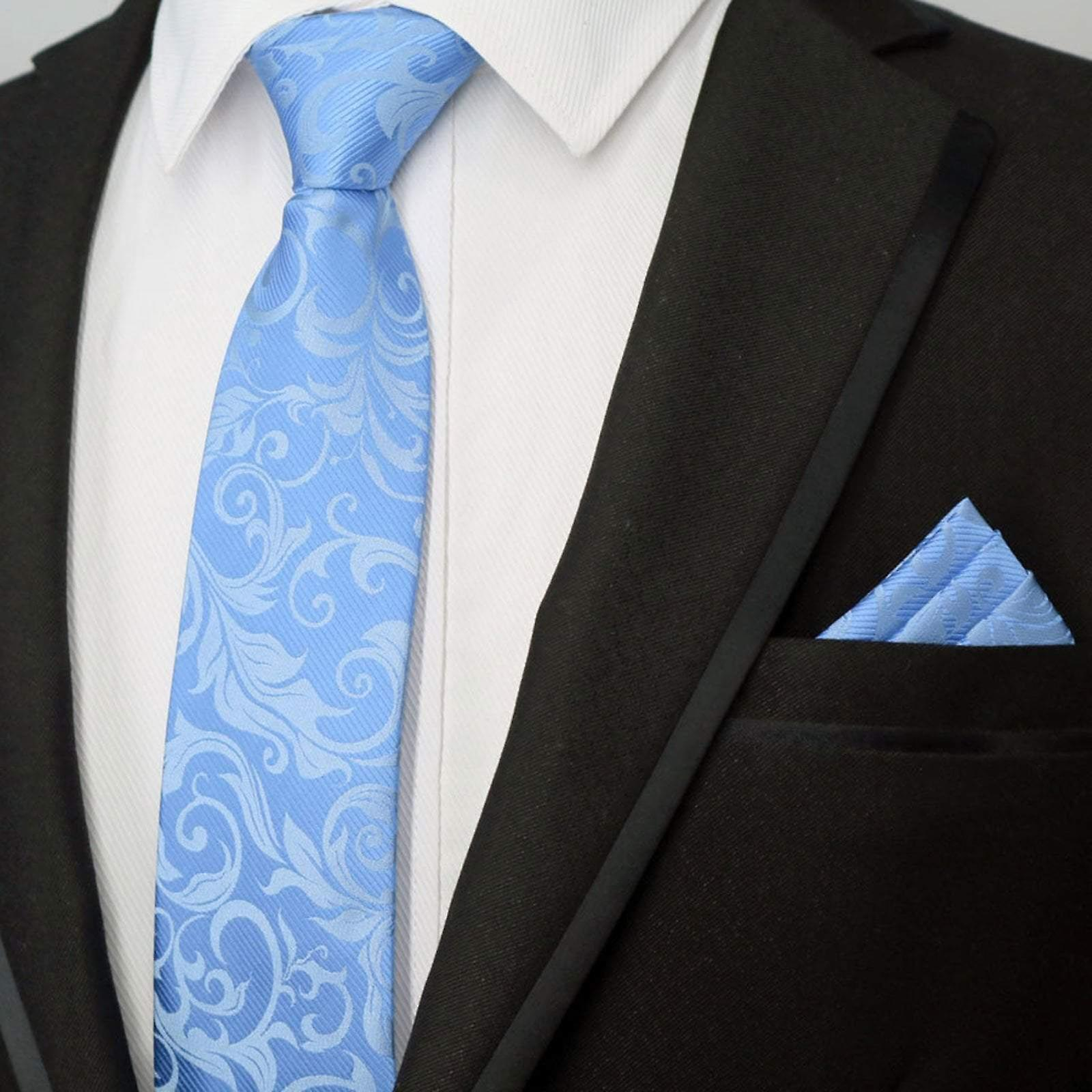 Baby blue mixed floral tie & pocket square necktie set