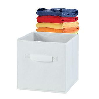 Russel Fabric Folding Storage Box, White 30CM