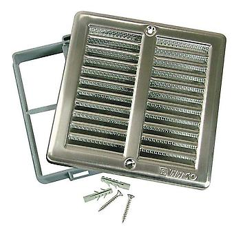 Brushed Stainless Steel Ventilation Grill 150 x 150 mm with Insect screen and Frame