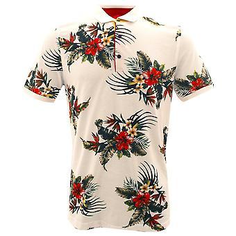 Claudio Lugli tropischen Blume weiß reine Baumwolle Polo Herren T-Shirt