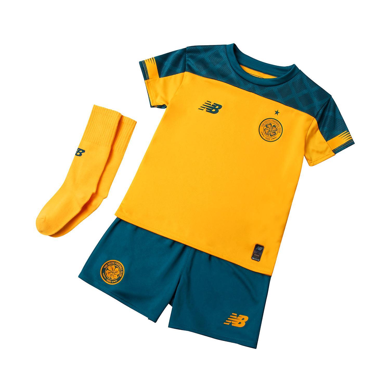 New Balance Celtic FC 2019/20 Junior Kids Football Away Mini Kit Yellow/Green